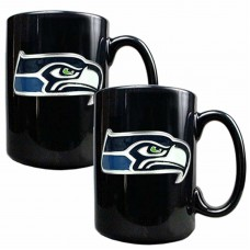 Set of 2 Seattle Seahawks 15oz Ceramic Coffee Mugs
