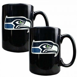 Set of 2 Seattle Seahawks 15oz Ceramic Coffee Mugs