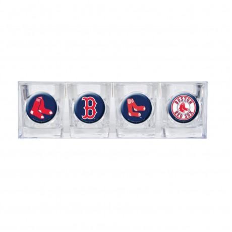 Boston Red Sox 4 pc Shot Glass Set