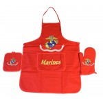 United States Marines Red Apron & Oven Mitt Set