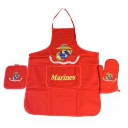 United States Marines Red Apron & Oven Mitt Set