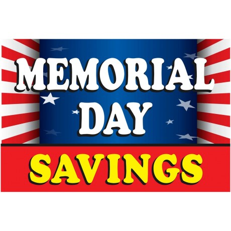 Memorial Day Savings Flag 2' x 3' Vinyl Business Banner