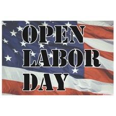 Open On Labor Day 2' x 3' Vinyl Business Banner