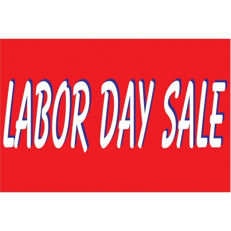 Labor Day Sale Red & White 2' x 3' Vinyl Business Banner