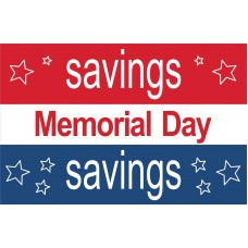 Memorial Day Savings Stars 2' x 3' Vinyl Business Banner