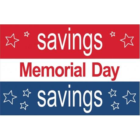 Memorial Day Savings Stars 2' x 3' Vinyl Business Banner