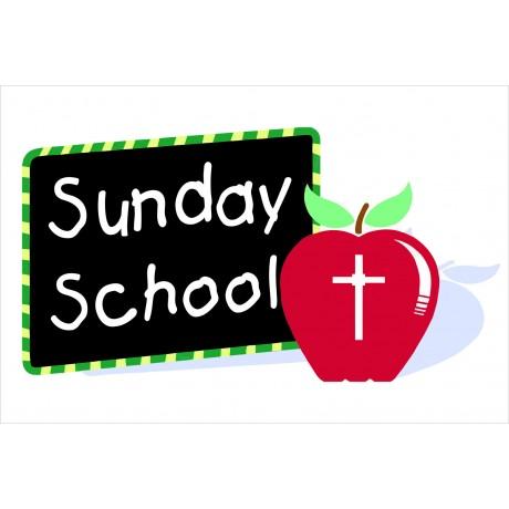Sunday School Apple 2' x 3' Vinyl Church Banner