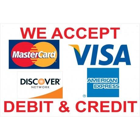 Visa Mastercard AMX Discover 2' x 3' Vinyl Business Banner