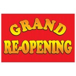 Grand Re-opening Red 2' x 3' Vinyl Business Banner