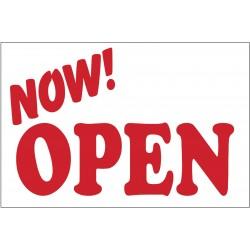 Now Open White 2' x 3' Vinyl Business Banner