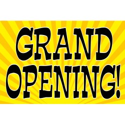 Grand Opening Yellow Fireworks 2' x 3' Vinyl Business Banner
