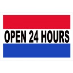 Open 24 Hours 2' x 3' Vinyl Business Banner