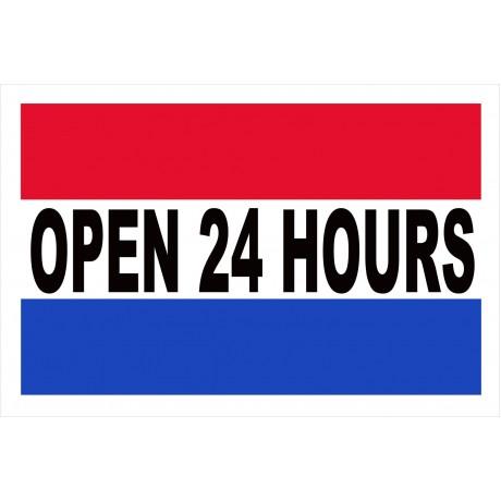 Open 24 Hours 2' x 3' Vinyl Business Banner