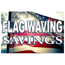 Holiday Flag Waving Savings 2' x 3' Vinyl Business Banner