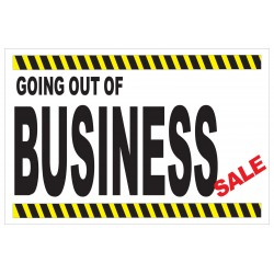 Going Out Of Business Sale Yellow Bars 2' x 3' Vinyl Business Banner