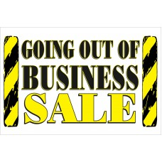 Going Out Of Business Sale Yellow Signs 2' x 3' Vinyl Business Banner