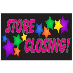 Store Closing Stars 2' x 3' Vinyl Business Banner