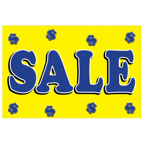 Sale Dollar Signs Yellow 2' x 3' Vinyl Business Banner