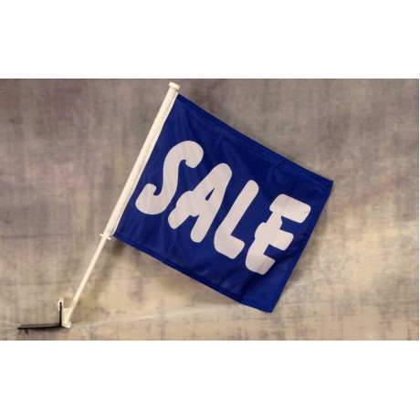 "Sale Blue 12"" x 15"" Car Window Flag"