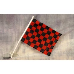 "Checkered Black & Red 12"" x 15"" Car Window Flag"