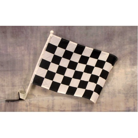 "Checkered Black & White 12"" x 15"" Car Window Flag"
