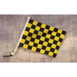 "Checkered Black & Yellow 12"" x 15"" Car Window Flag"
