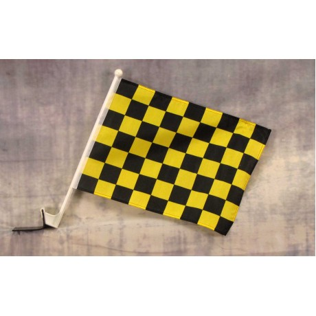 "Checkered Black & Yellow 12"" x 15"" Car Window Flag"