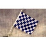 "Checkered Blue & White 12"" x 15"" Car Window Flag"