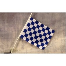 Checkered Blue and White Car Window Flag