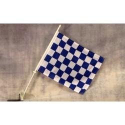 """Checkered Blue & White 12"""" x 15"""" Car Window Flag"""