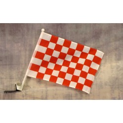 "Checkered Red & White 12"" x 15"" Car Window Flag"