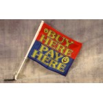 "Buy Here Pay Here Smiley 12"" x 15"" Car Window Flag"