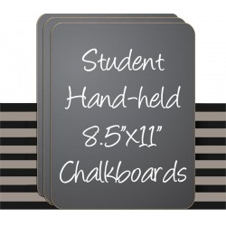 "8.5"" x 11"" Black Hand Held Chaklboard Sign - 30 Set"