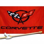 Corvette Red 3' x 5' Flag, Pole and Mount