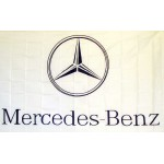 Mercedes White Automotive Logo 3'x 5' Flag