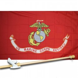 US Marine Corps Retired 3'x 5' Polyester Flag, Pole and Mount