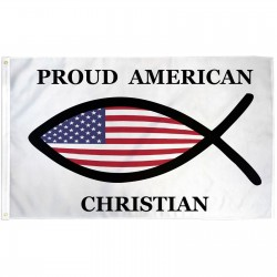 Proud American Christian Fish 3' x 5' Polyester Flag