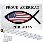 Proud American Christian Fish 3' x 5' Polyester Flag, Pole and Mount