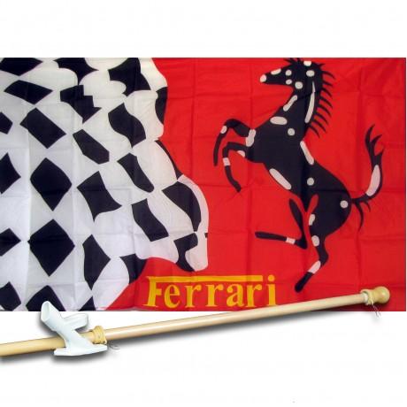 Ferrari Stallion Checkered 3' x 5'  Flag, Pole And Mount