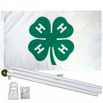 4 H Club 3' x 5' Polyester Flag, Pole and Mount