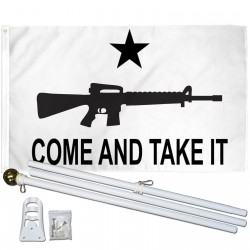 Come And Take It Carbine White 3' x 5' Polyester Flag, Pole and Mount