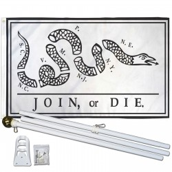 Join Or Die Rattlesnake 3' x 5' Polyester Flag, Pole and Mount