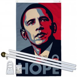 Obama Hope Vertical 3' x 5' Polyester Flag, Pole and Mount