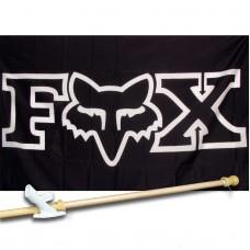 Fox Moto Black Motocross 3'x 5' Polyester Flag , Pole And Mount.