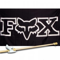 Fox Moto Black Motocross 3'x 5' Polyester Flag , Pole And Mount.