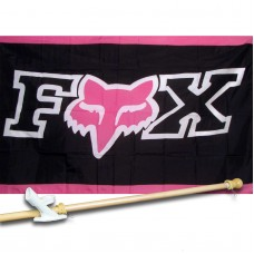Fox Moto Pink Motocross 3'x 5' polyester Flag , Pole And Mount.