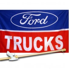 Ford Trucks Automotive Logo 3'x 5' polyester Flag, pole and mount