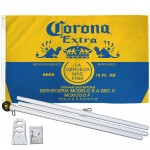 Corona Extra Gold 3' x 5' Polyester Flag, Pole and Mount