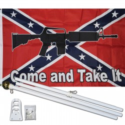 Come And Take It Rebel 3' x 5' Polyester Flag, Pole and Mount
