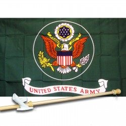 ARMY GREEN 3' x 5'  Flag, Pole And Mount.